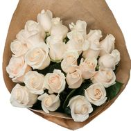 25 cream roses in paper - flowers and bouquets on salonroz.com