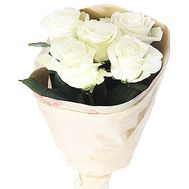 5 white roses in paper - flowers and bouquets on salonroz.com