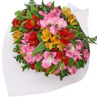 Bouquet of flowers from 19 multi-colored alstromeries - flowers and bouquets on salonroz.com