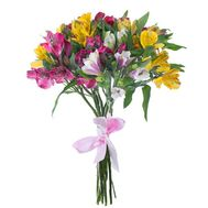 Bouquet of 9 multicolored alstromeries - flowers and bouquets on salonroz.com