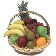 Fruit basket with oranges, lemons, apples, pineapple and grapes - flowers and bouquets on salonroz.com