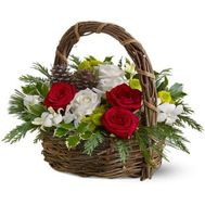 Flowers basket for New Year - flowers and bouquets on salonroz.com