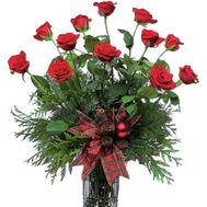 Новогодний букет красных роз - цветы и букеты на salonroz.com