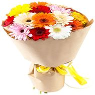 Multicolored gerbera in kraft - flowers and bouquets on salonroz.com
