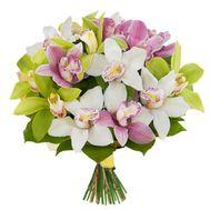 Разноцветные орхидеи в букете - цветы и букеты на salonroz.com