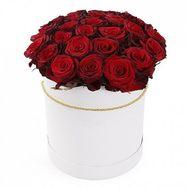25 роз красных роз в коробке - цветы и букеты на salonroz.com