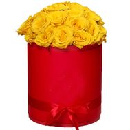 Yellow roses in a box - flowers and bouquets on salonroz.com