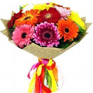 Bouquet of 17 multicolored gerberas - flowers and bouquets on salonroz.com