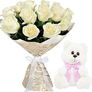 15 white roses and little Bear - flowers and bouquets on salonroz.com