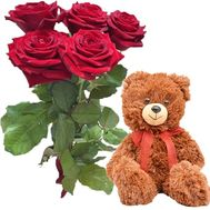 5 red roses and Teddy bear - flowers and bouquets on salonroz.com