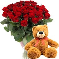 51 red rose and teddy bear - flowers and bouquets on salonroz.com