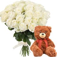 White roses and Teddy bear - flowers and bouquets on salonroz.com