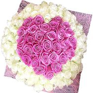 Bouquet of 101 roses in the form of heart - flowers and bouquets on salonroz.com