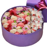 Flowers and Raffaello in a Round Box. Flowers and Raffaello in a Round Box - flowers and bouquets on salonroz.com