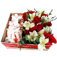 Flowers and Raffaello in a rectangular box - flowers and bouquets on salonroz.com