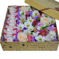 Composition of flowers in box with Raffaello - flowers and bouquets on salonroz.com