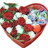 Composition of roses and kinder in the heart - flowers and bouquets on salonroz.com