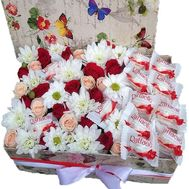 A box of flowers and Raffaello sweets - flowers and bouquets on salonroz.com