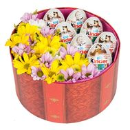 Box with chrysanthemums and kinder - flowers and bouquets on salonroz.com