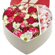 Box heart with flowers and rafaello - flowers and bouquets on salonroz.com