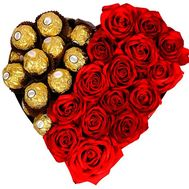 Heart box with roses and ferrero - flowers and bouquets on salonroz.com