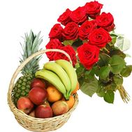 Fruit Basket and 11 red roses - flowers and bouquets on salonroz.com