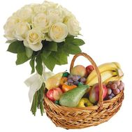 Fruit Basket and 15 White Roses - flowers and bouquets on salonroz.com