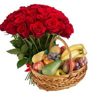 Fruit basket and 51 red roses - flowers and bouquets on salonroz.com