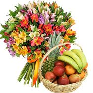Fruit basket and bouquet of alstroemerias - flowers and bouquets on salonroz.com