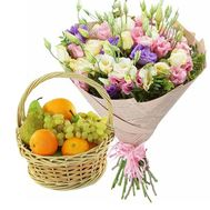 Fruit basket and a bouquet of natural flowers - flowers and bouquets on salonroz.com