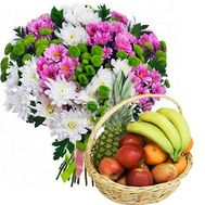 Fruit basket and bouquet of chrysanthemums - flowers and bouquets on salonroz.com