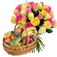 Fruit Basket and bouquet of Multicolored Roses - flowers and bouquets on salonroz.com