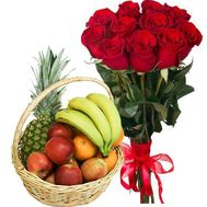 Fruit basket and imported roses - flowers and bouquets on salonroz.com