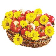 Basket of apples with flowers - flowers and bouquets on salonroz.com