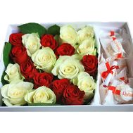 Red and white roses in a box of Raffaello - flowers and bouquets on salonroz.com