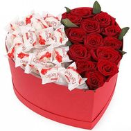 Red Roses and Raffaello in a Box Heart - flowers and bouquets on salonroz.com
