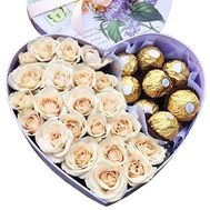 Cream roses and ferrero in a box - flowers and bouquets on salonroz.com