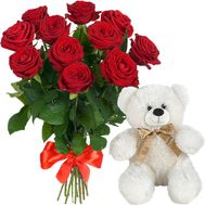 Bear with roses - flowers and bouquets on salonroz.com