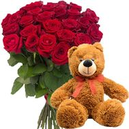 Bear and 25 red roses - flowers and bouquets on salonroz.com