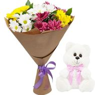 Teddy bear and chrysanthemums in bouquet - flowers and bouquets on salonroz.com