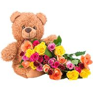 Teddy bear with multi-colored roses - flowers and bouquets on salonroz.com