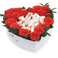 Heart of roses and chocolates Rafaello - flowers and bouquets on salonroz.com