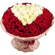 Elegant heart of roses - flowers and bouquets on salonroz.com