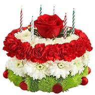 Flower cake with candles - flowers and bouquets on salonroz.com