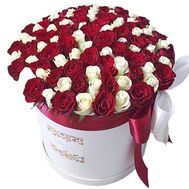 101 red and white rose in a box - flowers and bouquets on salonroz.com