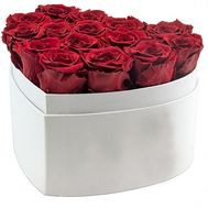 15 red roses in the box heart - flowers and bouquets on salonroz.com