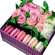 15 roses with French cake in a box - flowers and bouquets on salonroz.com
