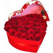 35 червоних троянд в коробці серце - цветы и букеты на salonroz.com