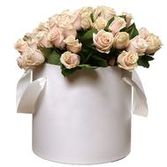 51 cream-colored roses in a round box - flowers and bouquets on salonroz.com
