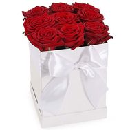 9 red roses in a square box - flowers and bouquets on salonroz.com